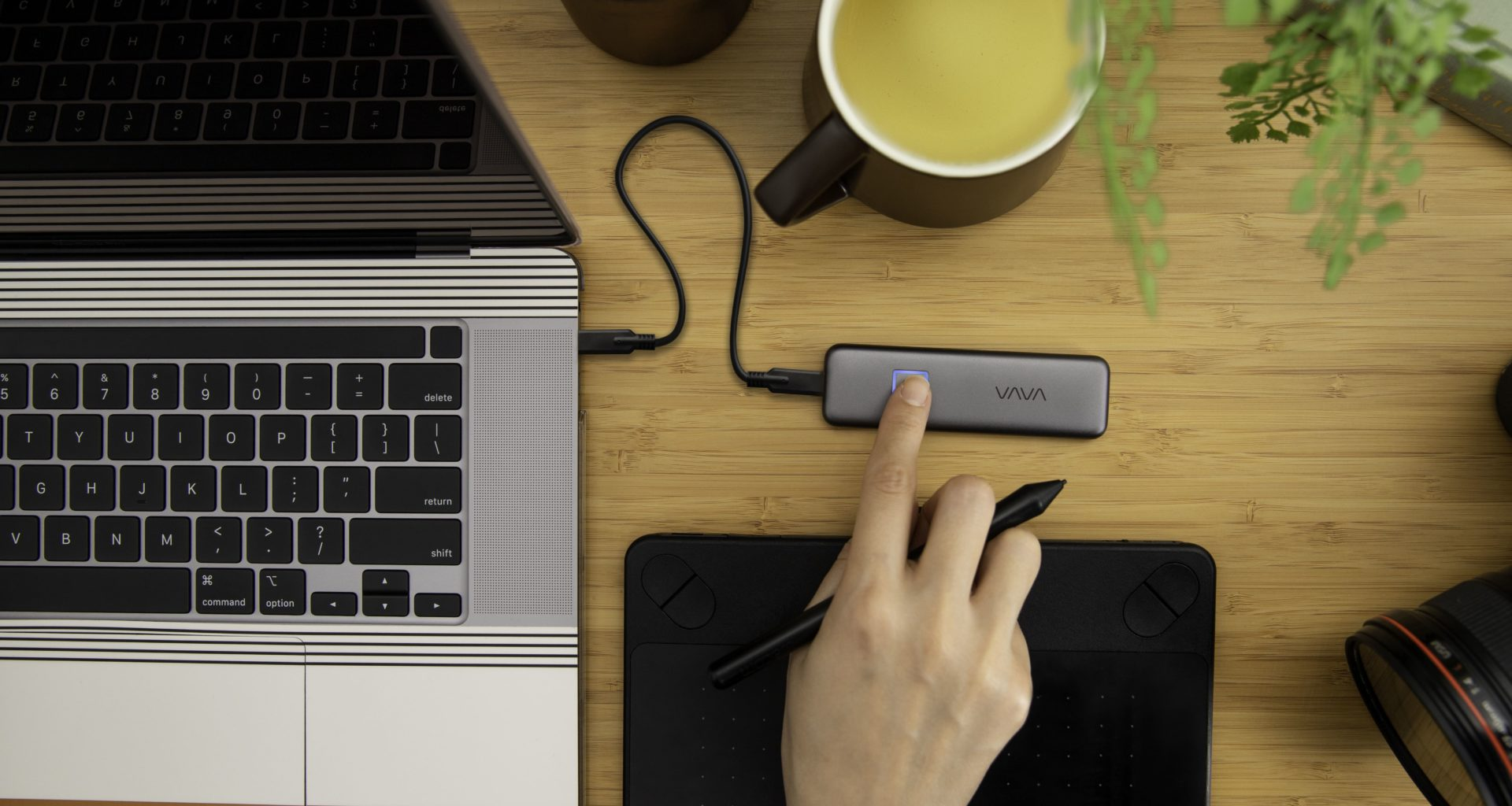 VAVA Portable SSD Touch with Fingerprint Encryption, 540MB/s transfer speed